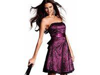 Laura Scott Purple Strapless Cocktail Dress - Size 12/14