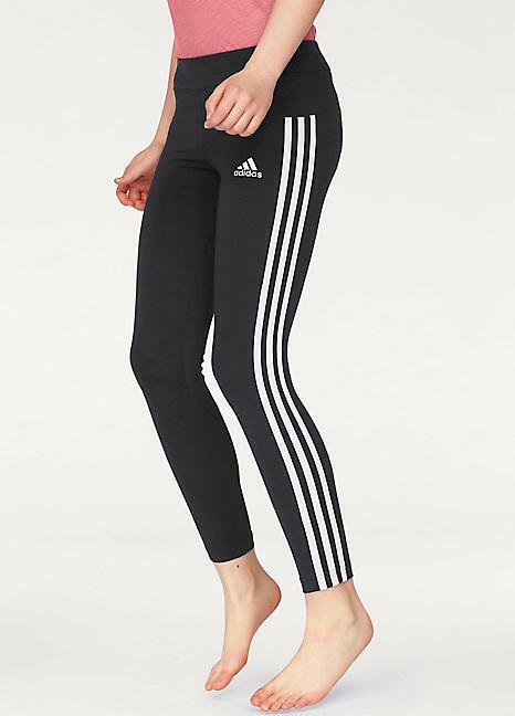 adidas girls 3 Stripe Black Athletic Tights  M L XL