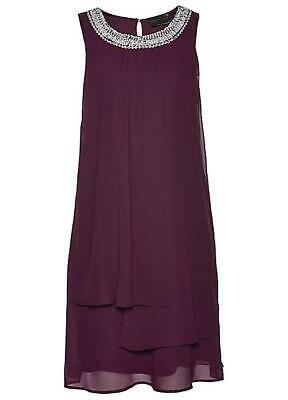 Sommer Kleid Chiffon ärmellos lila Straß 36 38 40 42 44 46 48 luftig neu 655 - Kleid