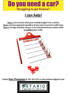 Do you need a car?  Struggling to get financing? I can Help!