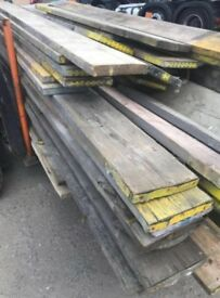 Various sizes used scaffold planks