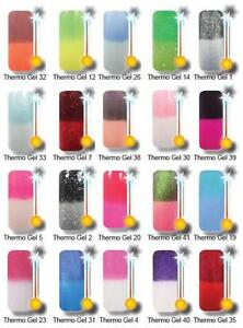 5 x Thermo UV-Farb-Gel/ Farbwechsel b.Temparaturwechsel UV Gel Thermogel Farbgel
