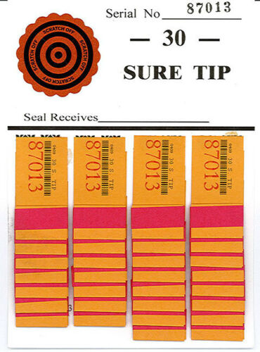 One Dozen # 30 Sure Tip Boards (1-30)  Bingo/Jar Tickets Free Shipping USA