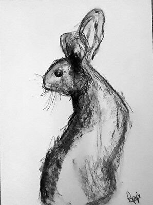 ORIGINAL ART DRAWING * Charcoal on Art paper * BUNNY RABBIT    * Art By Poppi