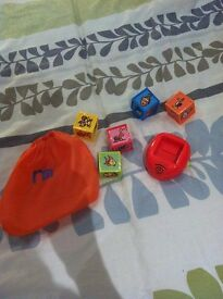 Mothercare Play Cubes, place the cube into the holder - just needs batteries