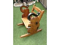 Rocking Chair with Elephant sides, Ideal for children / Kids. Solid wood, hand crafted