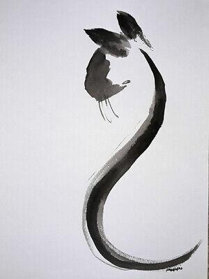 ORIGINAL ART DRAWING * pen & Ink * Siamese Cat  By Poppi
