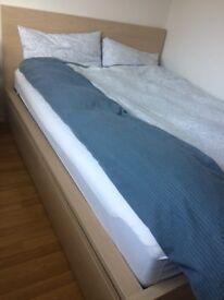 King Size Bed Frame+2 Boxes-MINT CONDITION