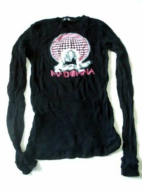 Madonna Discoball Confessions Dance Floor Black Sheer Thermal X-SMALL NEW/UNUSED
