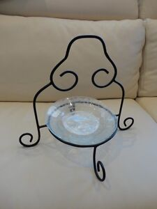 Black Rod Iron and Decorative Glass Cookie, Cheese Serving Tray
