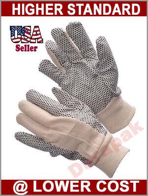 24 Pairs Cotton Canvas Work Gloves W Pvc Dots Men Size Indoor Outdoor Field