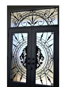 GLASS INSERTS DOORS STAINED GLASS WROUGHT IRON GLASS
