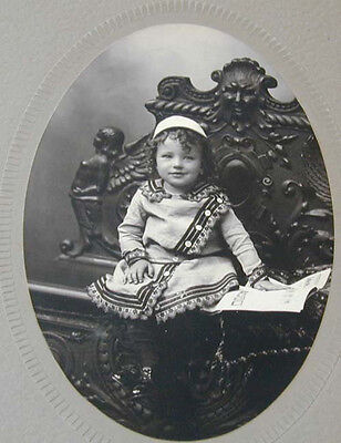 Kids Embroidered Chair (1900's Child In Coat w' Embroidered Trim in Carved Chair Frankfort)