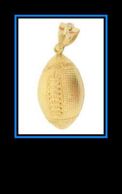 10K Yellow Gold and Cubic Zirconia Football Pendant Large Hollow (Zirconia Football)