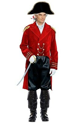 ADULT NAPOLEON GENERAL BONAPARTE CAPTAIN COLONIAL MENS COSTUME JACKET HAT RED - Mens Costume Hats