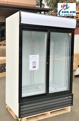 Commercial Glass Sliding Two Door Merchandiser Display Refrigerator Nsf 53x32x80