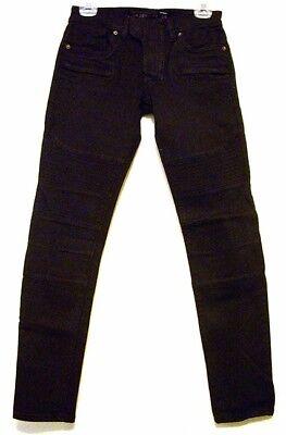 LIP SERVICE Mens Black Moto Jeans - Junkie Fit - Waist 28 Black Junkie Fit Jeans