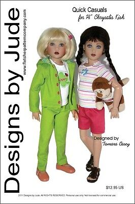 Quick Casuals Doll Clothes Sewing Pattern For 14 Kish Dolls