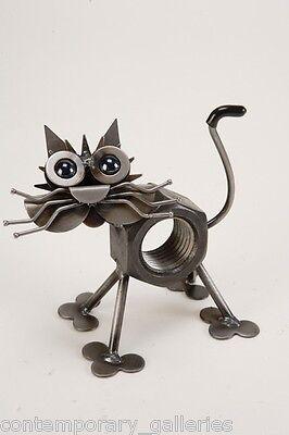 Yardbirds Recycled Scrap Metal Chubby Nut the Cat Kitten Sculpture Handmade (Yardbirds Sculpture)