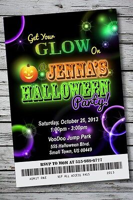 GLOW IN THE DARK Halloween Party Invitation Ticket NEON Birthday Costume - Halloween Birthday Costume Party Invitations