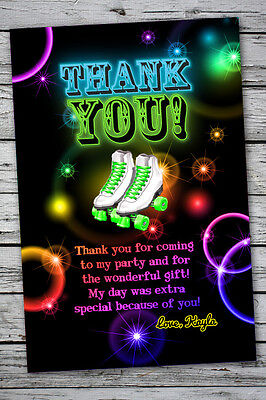 Glow Party Neon THANK YOU Printable Birthday Skating Glow in the dark theme](Neon Birthday Theme)