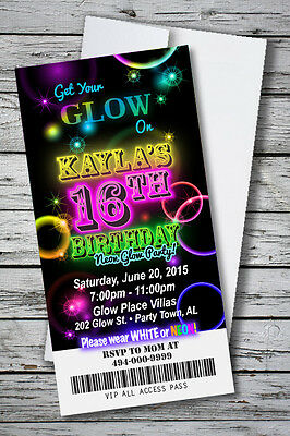 100 GLOW THEME NEON DISCO Birthday Party Invitation Prints w/ envelopes $1.33 ea](Neon Birthday Theme)