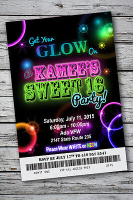Sweet 16 GLOW in the Dark Theme NEON DISCO Birthday Party Invitation 4x6 - Sweet 16 Theme