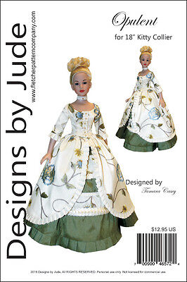 """Opulent Doll Clothes Sewing Pattern for 18"""" Kitty Collier Dolls Tonner"""