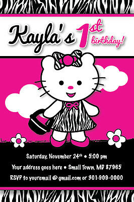 Zebra Print Dress Birthday Party Invitation CUTE Teddy Kitty UPRINT Baby Shower (Zebra Print Baby Shower Invitations)