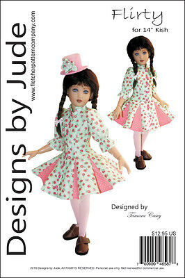 Flirty Dress Doll Clothes Sewing Pattern for 14