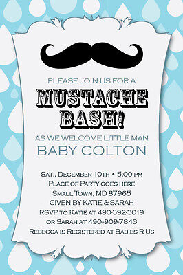 LITTLE MAN MUSTACHE Bash Printable 1st Birthday Party Baby Shower Invitation DIY