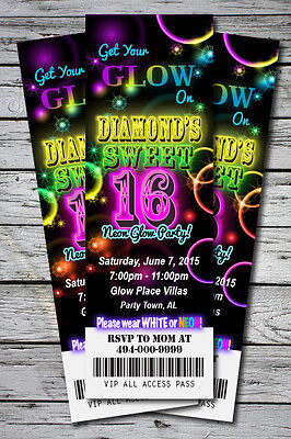 Sweet 16 GLOW in the Dark Theme NEON Birthday Party Invitation TICKET 2.5x7