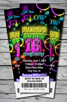 Sweet 16 GLOW in the Dark Theme NEON Birthday Party Invitation TICKET 2.5x7 - Sweet 16 Theme