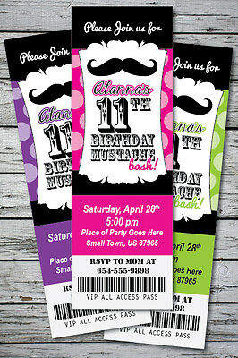 ay Party Invitation TICKET Stub Any Age or Color Personlized (Mustache Bash)