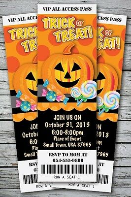 Trick-or-Treat Halloween Birthday Party Invitation TICKET Stub Costume - Halloween Birthday Costume Party Invitations