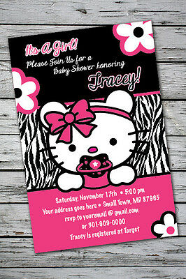 TEDDY Zebra Print Printable Baby Shower Party Invitation GIRL1st Birthday Kitty (Zebra Print Baby Shower Invitations)