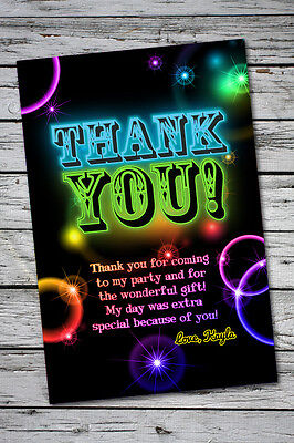Glow Party Neon THANK YOU Birthday Glow in the dark theme card invitation invite