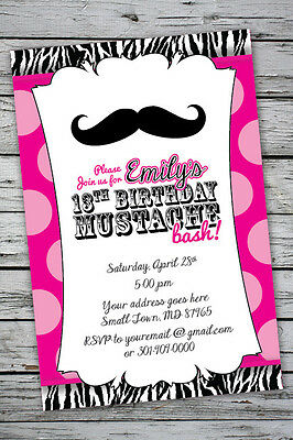 MUSTACHE BASH Zebra Print Invitation 13th Birthday Party 16th 1st Any Age Color