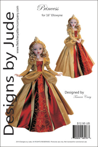 "Princess Doll Clothes Sewing Pattern for 16"" Ellowyne Wilde Dolls Tonner"