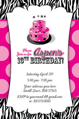 Zebra Print Cake Invitation 13th Birthday Party Baby Shower 16th 1st Hot Pink  (Zebra Print Baby Shower Invitations)