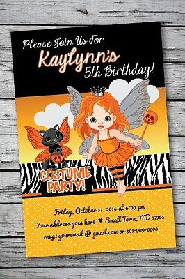 Fairy Halloween Birthday Party Invitation Girl Costume Orange Black Cat - Halloween Birthday Costume Party Invitations
