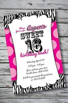 Sweet 16 Zebra Print Invitation Birthday Party Baby Shower 1st Hot Pink or ANY (Zebra Print Baby Shower Invitations)