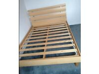 Double bed beech wood in excellent condition without mattress - can deliver