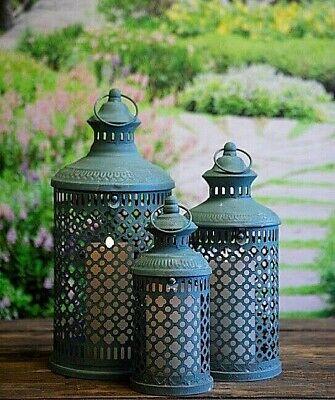 Set of 3 Green  Savona Metal Garden Or  Indoor Lanterns Vintage Moroccan Style