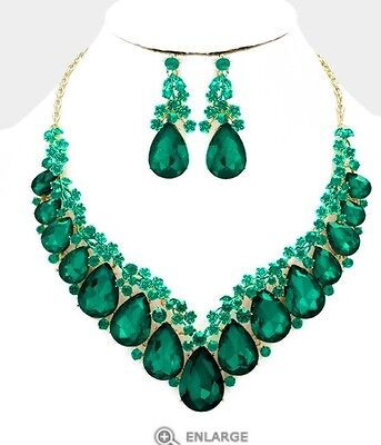Green Emerald Gold Long Crystal Pageant Dangle Earrings Jewelry Necklace Set