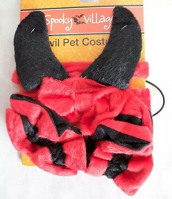 Dog Devil Halloween Costume 4 Piece Set  Ears With Matching Bow & Cuffs - Dog Devil Costume