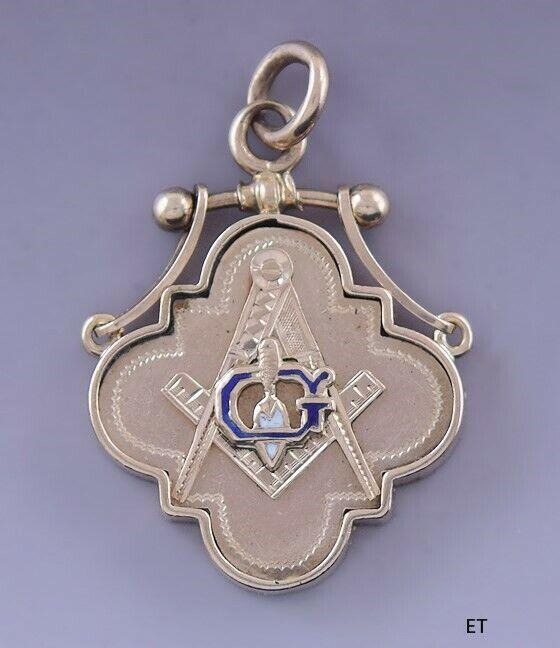 Late 1800s Fine Masonic Freemason 10k Gold & Enamel Fob / Pendant