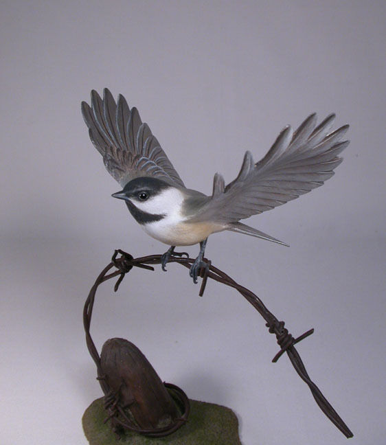 Open-winged Black-capped Chickadee Bird Carving/Birdhug