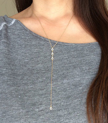 THREE Crystal Gold Y Lariat Drop Necklace also in Sterling Silver Rose Gold