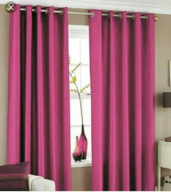 Catherine Lansfield luxury fully lined faux silk eyelet curtains and tiebacks